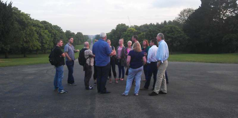 Evening tour group in Windsor at the Long Walk